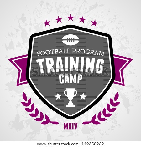 Sports football training camp badge emblem design - stock vector