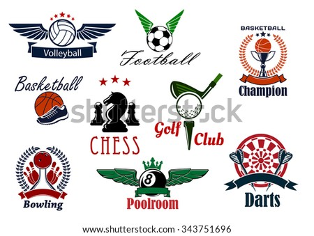 Sports game club or team emblems with volleyball, football, soccer, basketball, golf, chess, poolroom, darts and bowling with sport items and heraldic elements