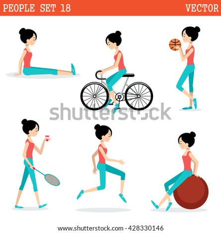 Sports girl. Active lifestyle. Vector - stock vector