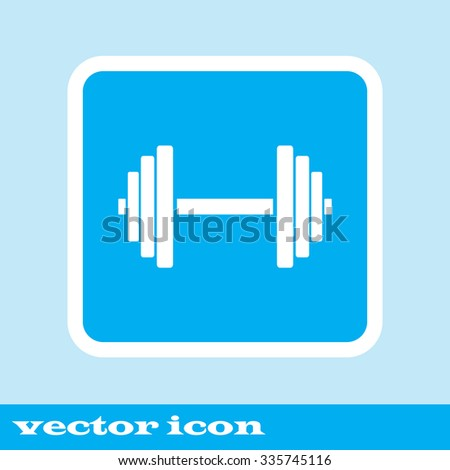Sports gym equipment. Dumbbell. Classic flat icon. Vector illustration - stock vector
