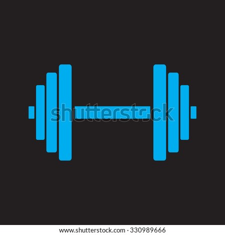 Sports gym equipment. Dumbbell - Vector icon isolated.  black icon. - stock vector