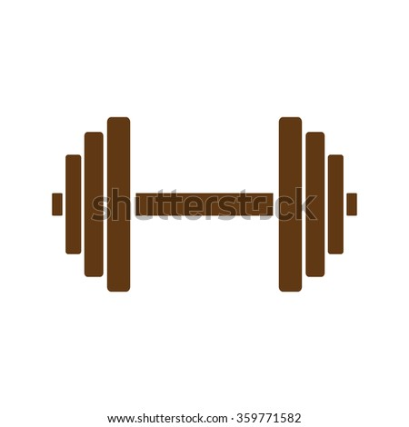 Sports gym equipment. Dumbbell - Vector icon isolated.  brown icon. - stock vector