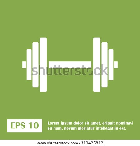 Sports gym equipment. Dumbbell - Vector icon isolated. green icon. - stock vector