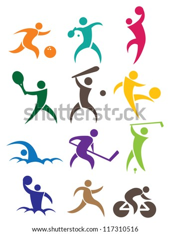 Sports icon with people in different colors. Vector illustration. - stock vector