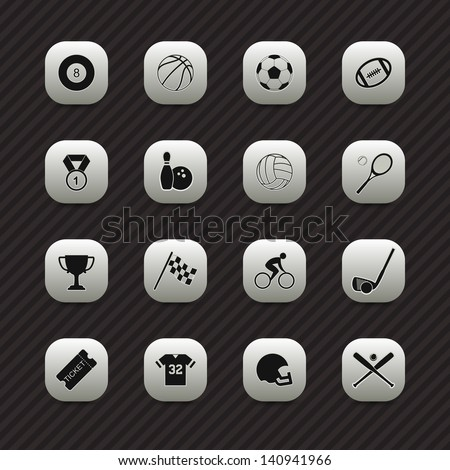 Sports icons / buttons set - stock vector