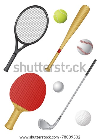 Sports icons isolated on white. Vector illustration. - stock vector