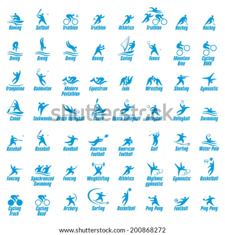 Sports icons kit, vector illustration - stock vector