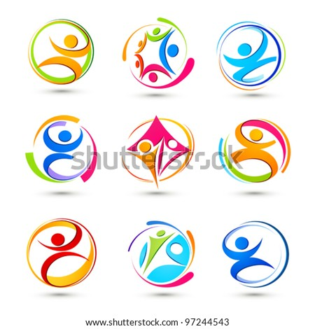 Sports icons of people - stock vector