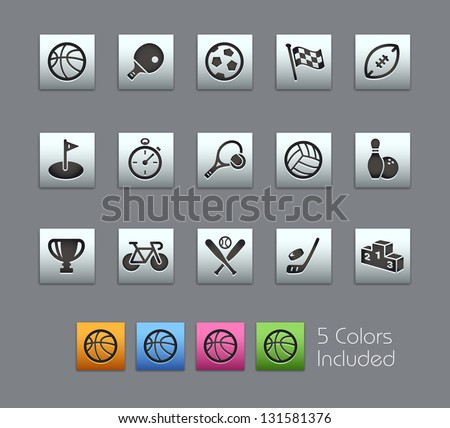 Sports Icons // Satinbox Series -------It includes 5 color versions for each icon in different layers --------- - stock vector