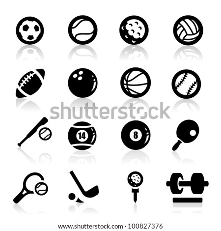Sports icons set Elegant series - stock vector