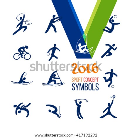 Sports icons set. Symbol sport concept recreation.Vector illustration isolate on white.  - stock vector