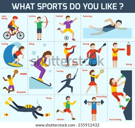 Sports icons set with cycle racing archery football swimming isolated vector illustration - stock vector