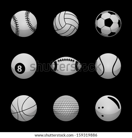 Sports Icons Silver Icon Set - stock vector