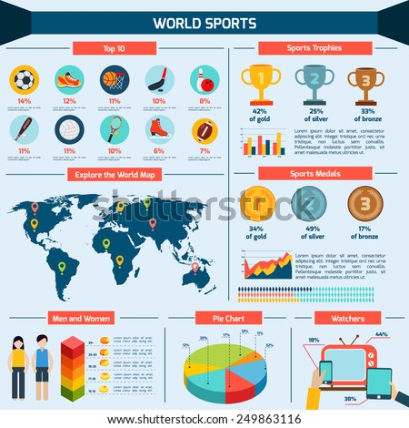 Sports infographics set with charts world map data and statistics vector illustration - stock vector