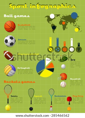 Sports infographics set with game balls and equipment and charts vector illustration - stock vector