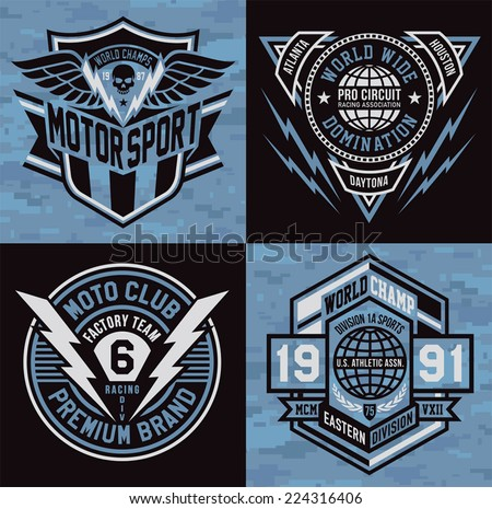 Sports insignia emblem set - stock vector