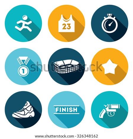 Sports jogging, discipline icons set. Vector Illustration. - stock vector