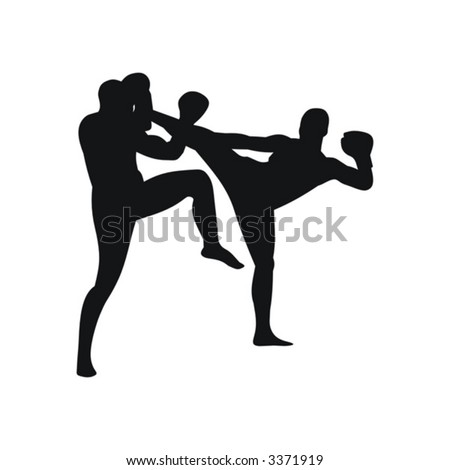 sports, karate, silhouette, kicking, fighting, men, black, japan, combative, isolated, kick, people - stock vector