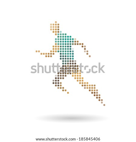 Sports man running abstract isolated on a white backgrounds, vector illustration - stock vector