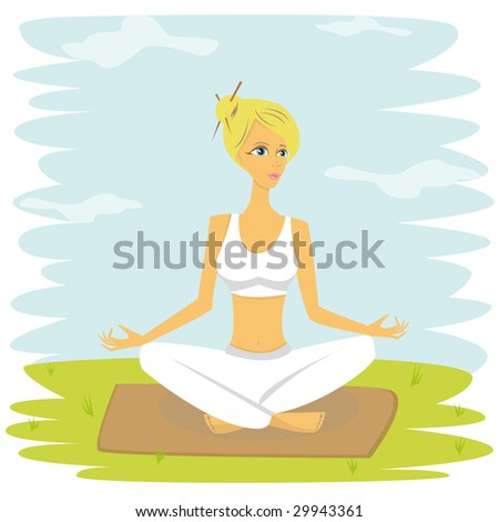 Sports outside. Vector illustration of meditation pretty woman.