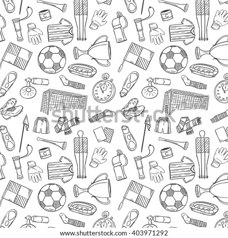 Sports Pattern With Soccer/Football Symbols in Hand Draw Style. Vector Illustration - stock vector