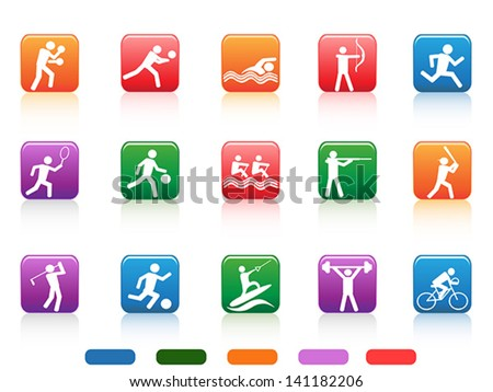 sports people buttons - stock vector