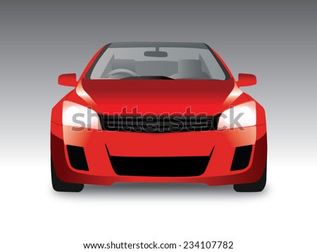 sports red car front view, Vector illustration - stock vector
