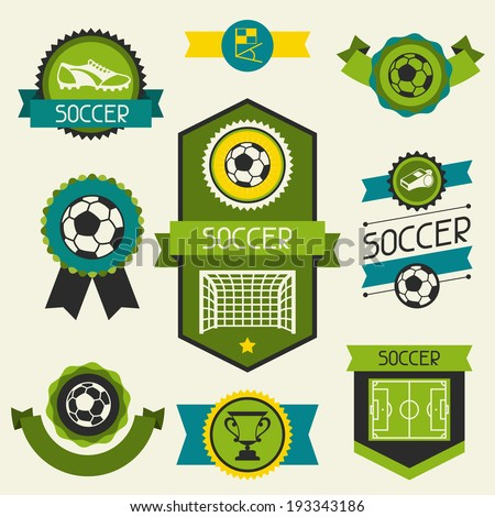 Sports ribbons, labels and badges with soccer (football) icons. - stock vector
