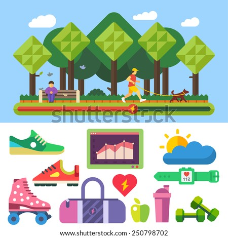 Sports, running, healthy lifestyle, exercise, fitness, proper nutrition, nature, good weather, park. Vector flat illustrations and icon set. - stock vector