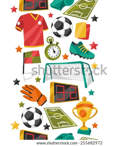 Sports seamless pattern with soccer football symbols in cartoon style. - stock vector