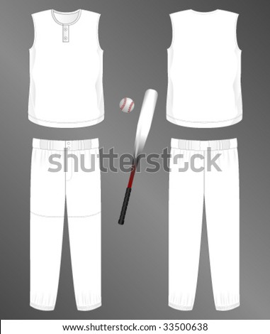Sports series. Realistic team baseball uniform: pants and sleeveless jersey with 2 button neck. Blank template - just add your art. - stock vector