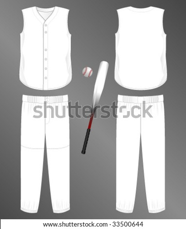 Sports series. Realistic team baseball uniform: pants and split front sleeveless jersey. Blank template - just add your art. - stock vector