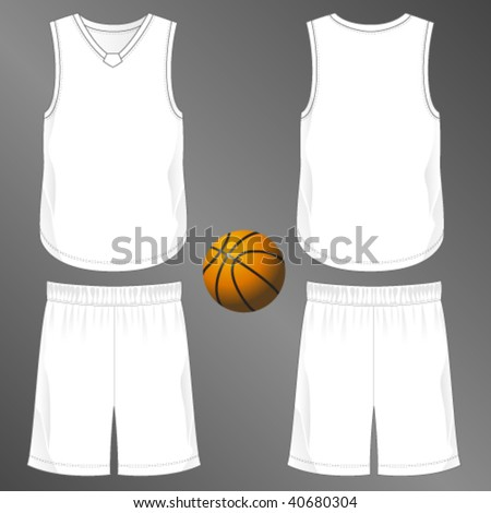 Sports series. Realistic team basketball uniform: shorts and sleeveless v-neck jersey  with diamond cut neck insert (front and back). Blank template - just add your art. - stock vector
