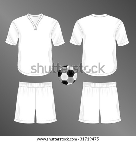 Sports series. Realistic team soccer (European football)  uniform: shorts and jersey with rounded v-neck. Blank template - just add your art. - stock vector