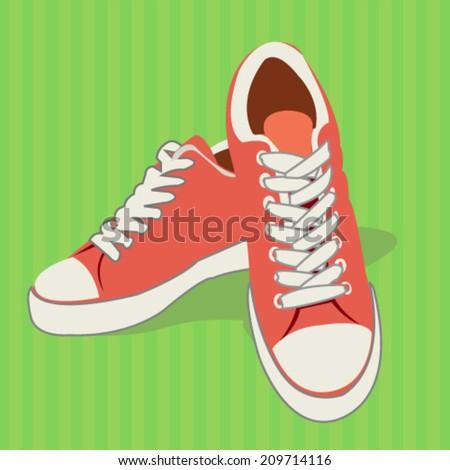 sports shoes - flat design vector  - stock vector