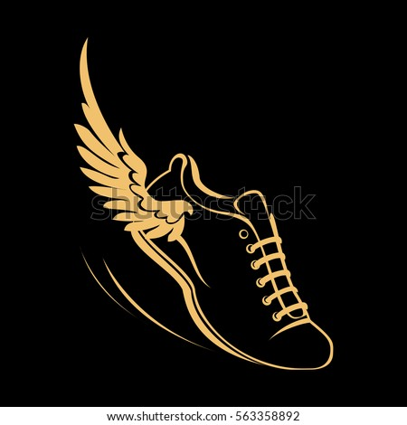 Running Shoe With Wings Graphic