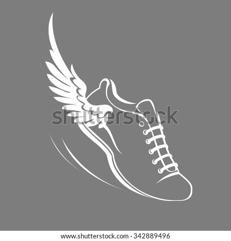 Sports shoes for running, running shoe with a wing. Vector illustration - stock vector