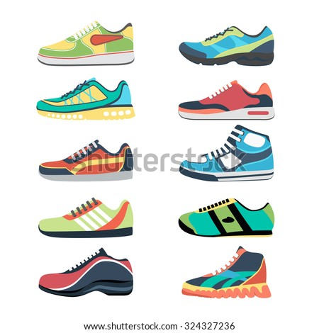 Sports shoes vector set. Fashion sportwear, everyday sneaker, footwear clothing illustration - stock vector