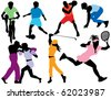 Sports silhouettes - stock photo