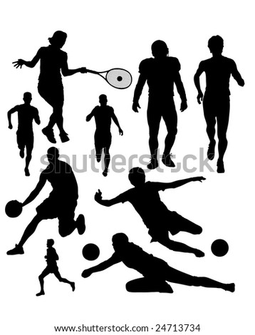 Sports Silhouettes Vector - stock vector