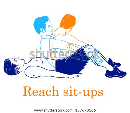 Sports silhouettes. Workout, man in shorts doing sport.Reach sit ups - stock vector