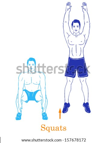 Sports silhouettes. Workout, man in shorts doing sport.Squats - stock vector