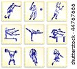 Sports Stamp Collection Original Vector Illustration - stock
