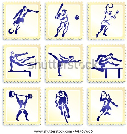 Sports Stamp Collection Original Vector Illustration - stock vector