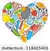 Sports symbols in the form of heart - stock vector