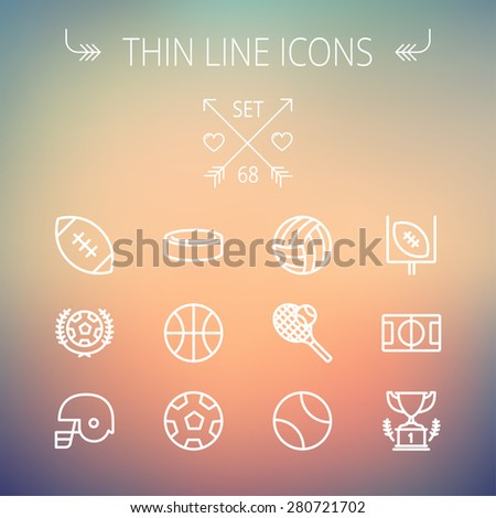 Sports thin line icon set for web and mobile. Set includes- volleyball, basketball, hockey puck, tennis, soccer, football, trophy, helmet icons. Modern minimalistic flat design. Vector white icon on - stock vector