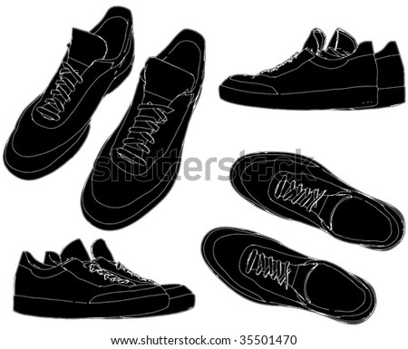 Sports Trainers Shoes Vector 01 - stock vector