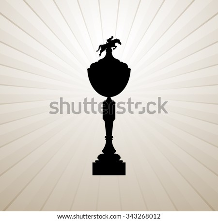 Sports trophies and awards silhouettes - stock vector