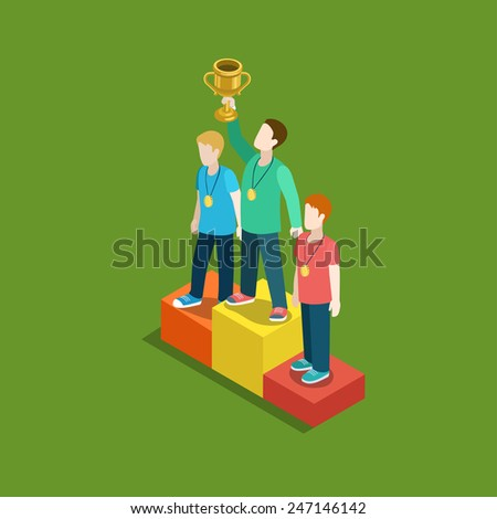 Sports trophy rating award winner concept flat 3d web isometric infographic vector. Three men on place pedestal, first place rising hand with gold cup. Creative people collection. - stock vector