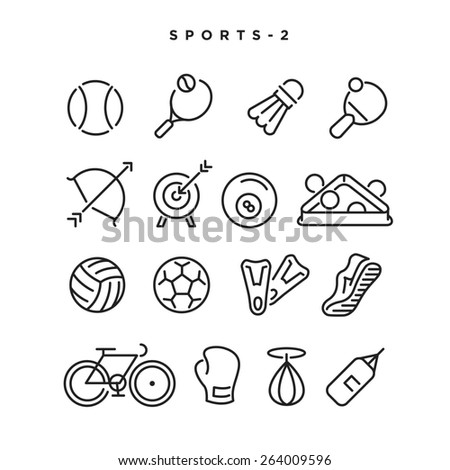 Sports vector icons. Elements for print, mobile and web applications. - stock vector